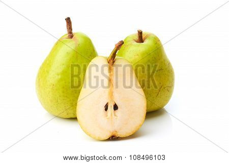 Two pears and half on white