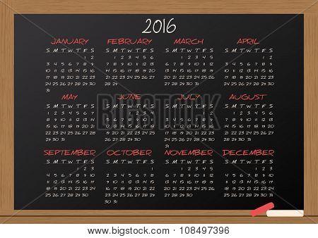 2016 Calendar Chalkboard
