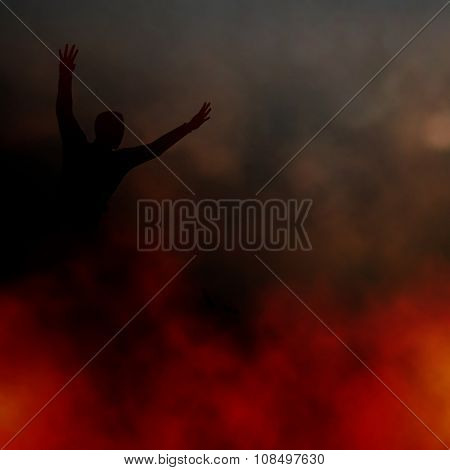 EPS8 editable vector illustration of a man fleeing a smoky fire made using a gradient mesh