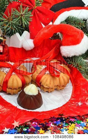 Shortbread Cookies And Candy On Christmas Background