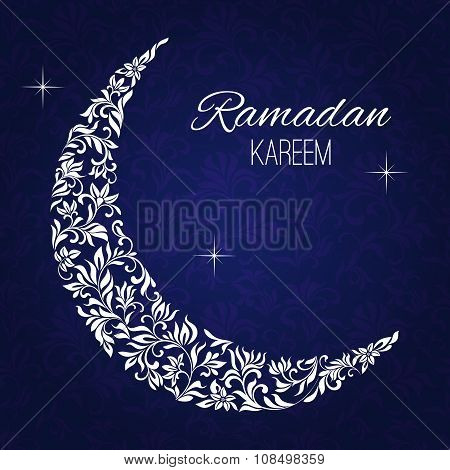 Floral Design Decorated Crescent Moon On Blue Background For Holy Month Of Muslim Community Ramadan