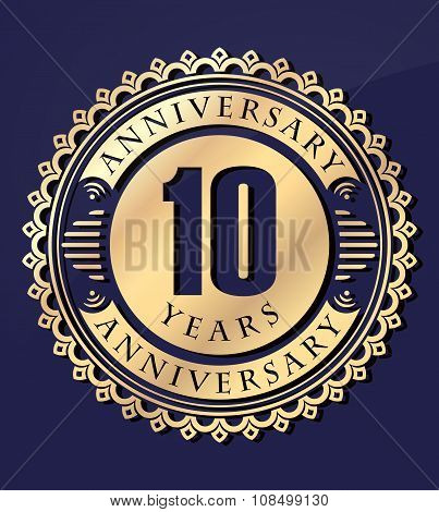 Vintage Anniversary 10 Years Round Emblem. Retro Styled Vector Background In Gold Tones On Dark Blue