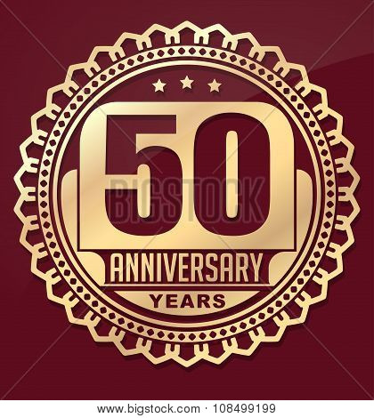 Vintage Anniversary 50 Years Round Emblem. Retro Styled Vector Background In Red Tones.