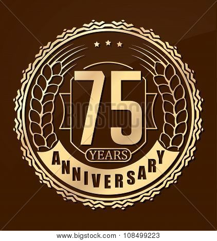 Vintage Anniversary 75 Years Round Emblem With Ears. Retro Styled Vector Background In Gold Tones