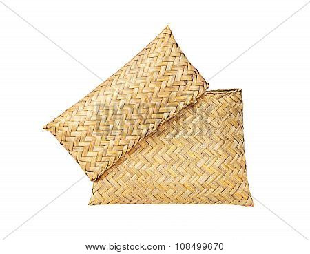 Bag Woven Straw With Hand-made Isolated On The White Background