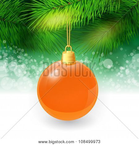 Christmas background with fir twigs and christmas ball. Vector illustration.