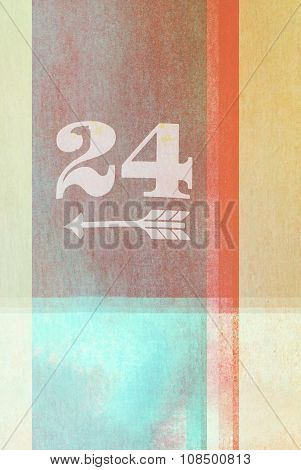 Old Fashioned Number Twenty Four  On Textured Abstract Background - Earthy Colors - Graphic Design