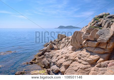 Boulders and rocks on the shore of the Mediterranean