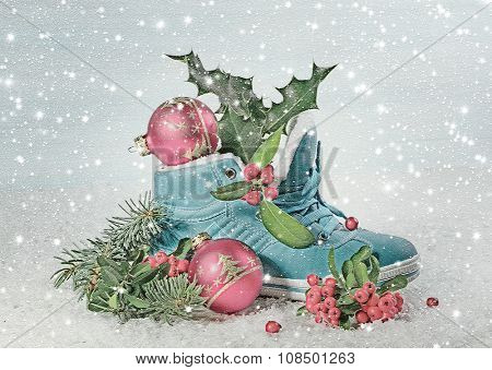 Blue shoe with Holly leaves and berries. Digital illustration