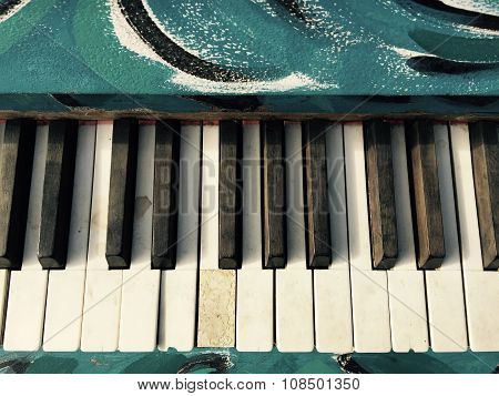 Vintage, Old Blue Painted Piano