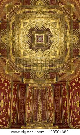 kaleidoscope cross:  gold and red ceiling detail