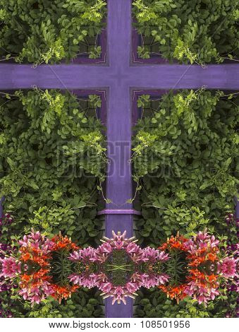 kaleidoscope cross:  purple wood siding