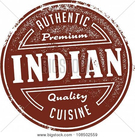 Authentic Indian Restaurant Food Menu Stamp