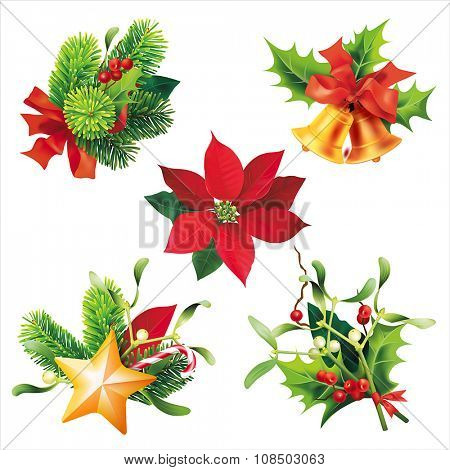 Christmas elements of decoration isolated on white. Vector set.