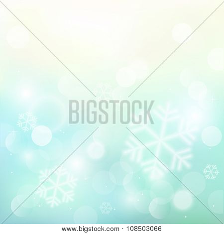 Christmas background with snowflakes and sparkles. Vector illustration.