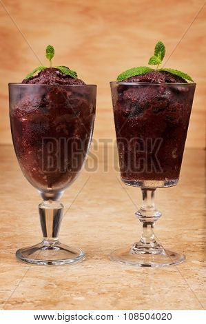 Acai Pulp In Glass With Fresh Mint