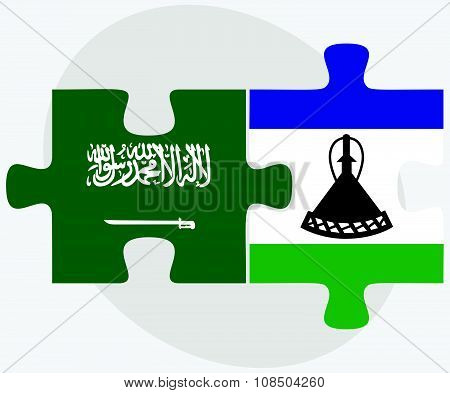 Saudi Arabia And Lesotho Flags
