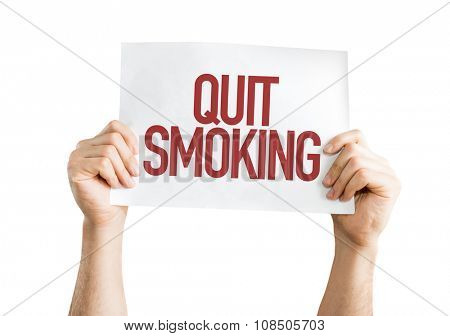 Quit Smoking placard isolated on white