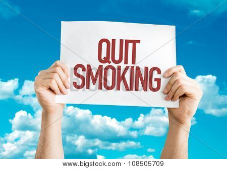 Quit Smoking placard with sky background