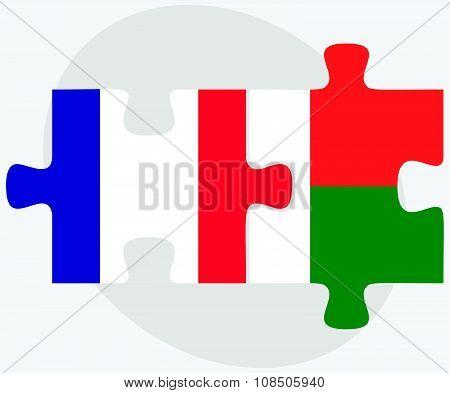 France And Madagascar Flags