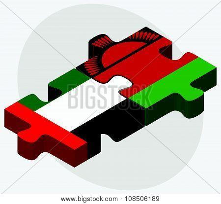 United Arab Emirates And Malawi Flags