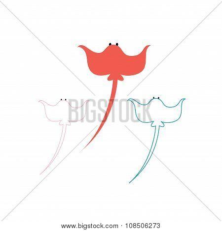 illustration colorful stingray
