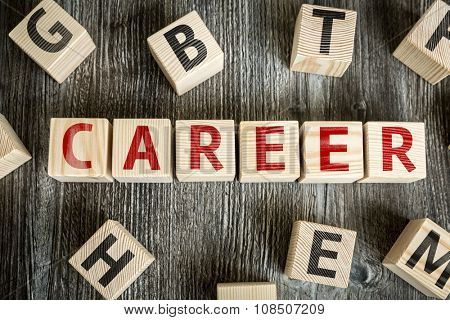 Wooden Blocks with the text: Career