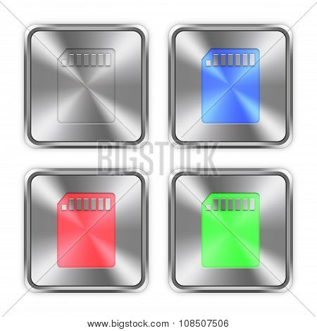Color Memory Card Steel Buttons