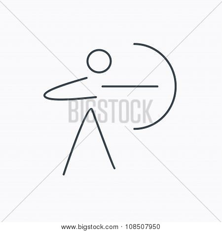 Archery sport icon. Archer with longbow sign.