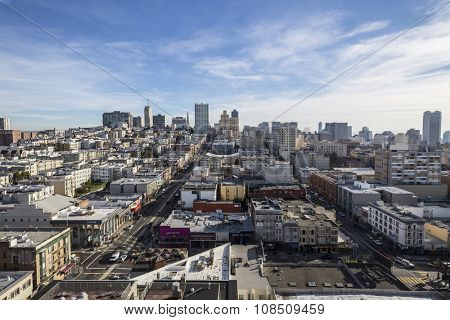 SAN FRANCISCO, CALIFORNIA, USA - January 15, 2013:  Clear sky view towards Nob Hill and downtown San Francisco.