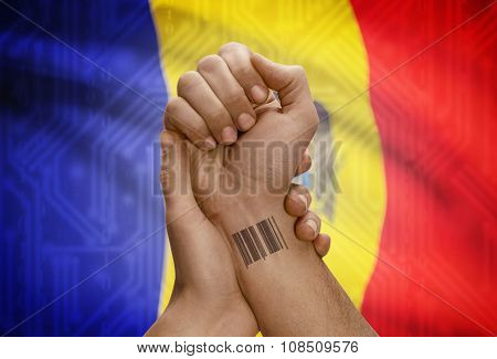 Barcode Id Number On Wrist Of Dark Skinned Person And National Flag On Background - Moldova