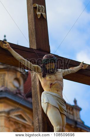 Statue of Jesus Christ on the cross. Clouse up