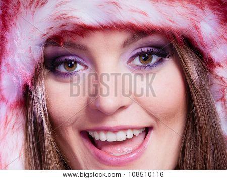 Woman Portrait In Winter Cap