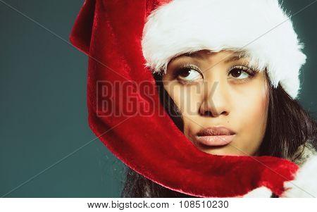Woman Santa Helper Hat Portrait