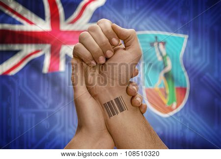 Barcode Id Number On Wrist Of Dark Skinned Person And National Flag On Background - Montserrat