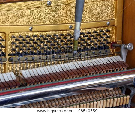 Inside Of A Piano With Strings