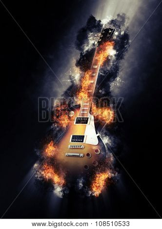 Fine art image of a burning electric guitar engulfed in fiery orange flames in a smoky textured atmosphere. 3d Rendering.