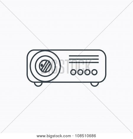 Projector icon. Video presentation device sign.
