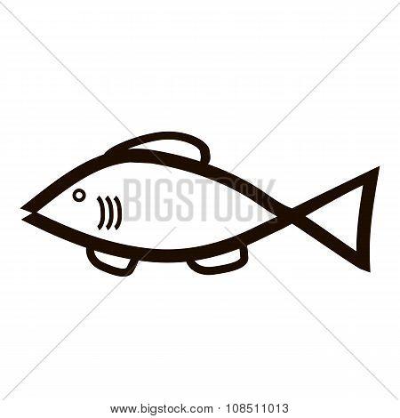 Fish Icon On White.