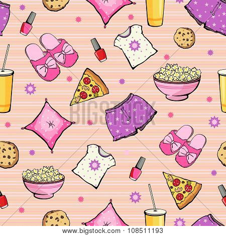 Vector Pink Slumber Party Food Objects Seamless Pattern. Pizza. Popcorn. Pajamas. Treat.