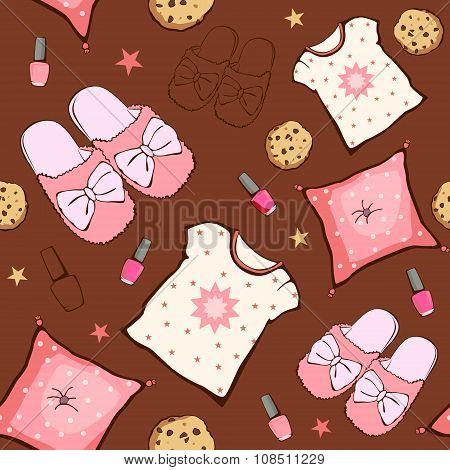 Vector Pink Brown Sleepover Party Food Objects Seamless Pattern. Pizza. Popcorn. Pajamas. Treat.