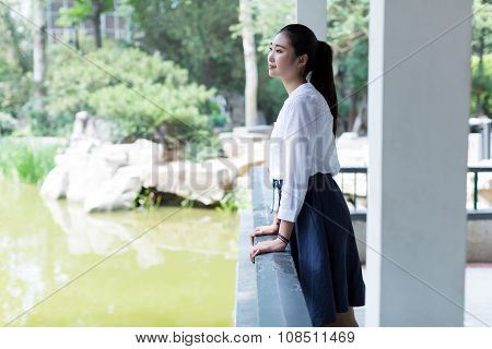 Girl Standing Outdoors