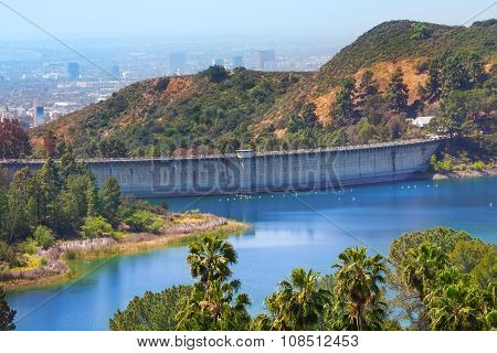 View of Mulholland Dam in Los Angeles, USA