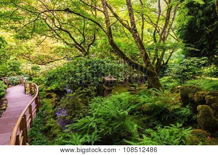 Scenic decorative park on Vancouver Island, Canada. Quiet Japanese garden