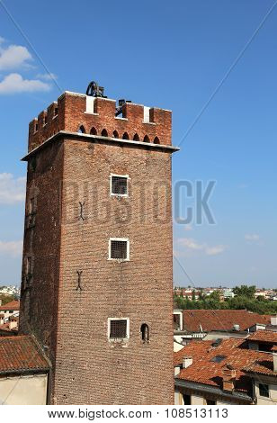 Tower Of Torment In Piazza Delle Erbe In Vicenza In Italy