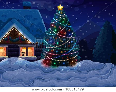 Christmas background with Christmas tree and house. Vector illustration