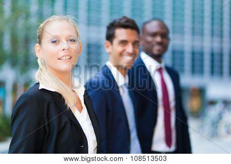 Multiethnic business team outdoor