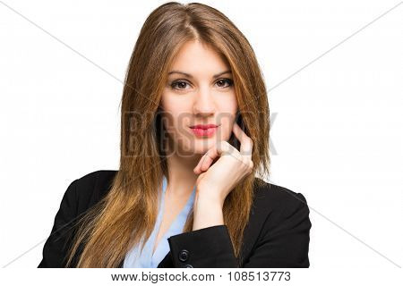 Charming businesswoman portrait isolated on white