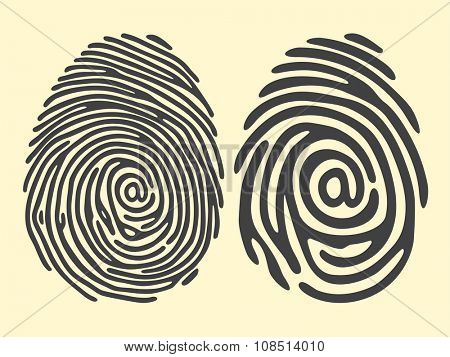 set of black finger print with email sign. Vector illustration. Security identification technology or biometric access