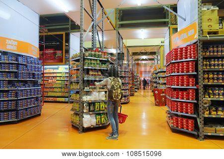 Bar, Montenegro, November, 11, 2015: Interior of a supermarket in Bar, Montenegro